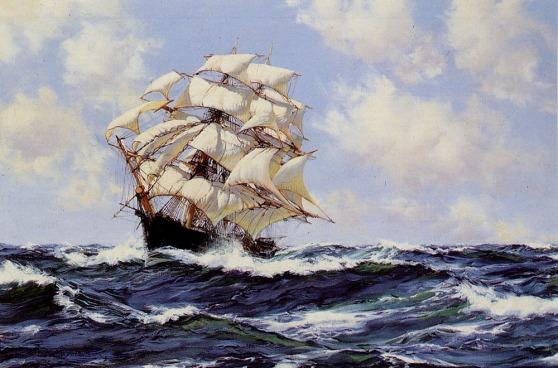De Mermaid op volle zee Schilderij door Montague Dawson